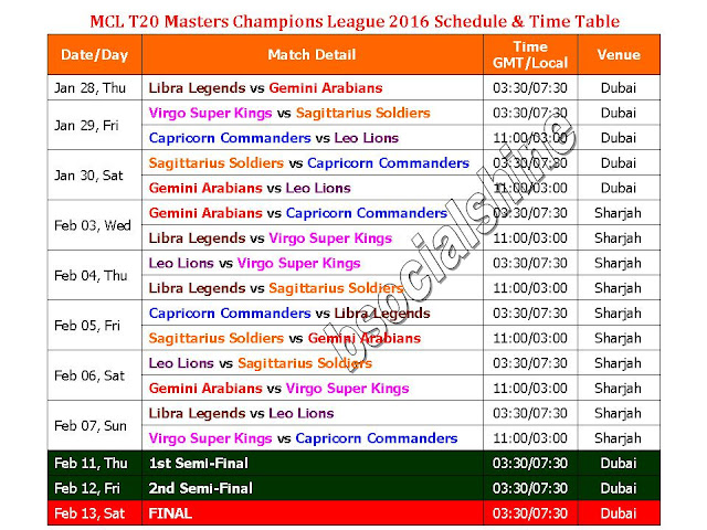 Masters Champions League 2016 Schedule & Time Table,MCL T20 2016 schedule,MCL T20 cricket schedule & fixture,Masters Champions League 2016 match detail,Masters Champions League 2016 teams and player,venue,india time,uae time,gmt time,place,teams,Masters Champions League 2016 t20 match,schedule,time table,fixture,MCL T20 Masters Champions League 2016 Schedule & Time Table,retired cricket matches,t20 matches,Masters Champions League t20 series Teams: Libra Legends, Gemini Arabians, Virgo Super Kings, Sagittarius Soldiers, Capricorn Commanders , Leo Lions