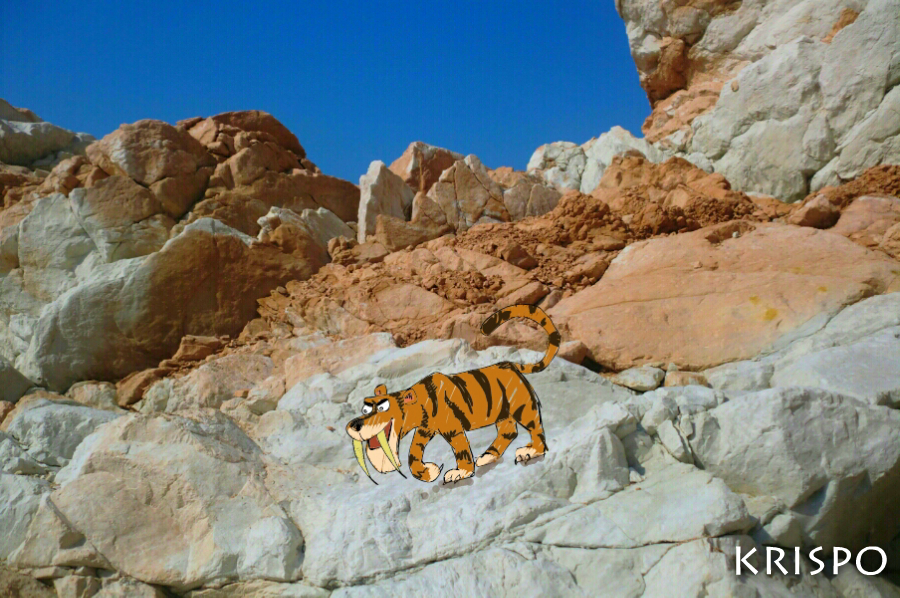 dibujo de tigre caminando sobre rocas