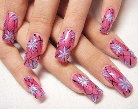 Pink Nail Art with Blue Flowers