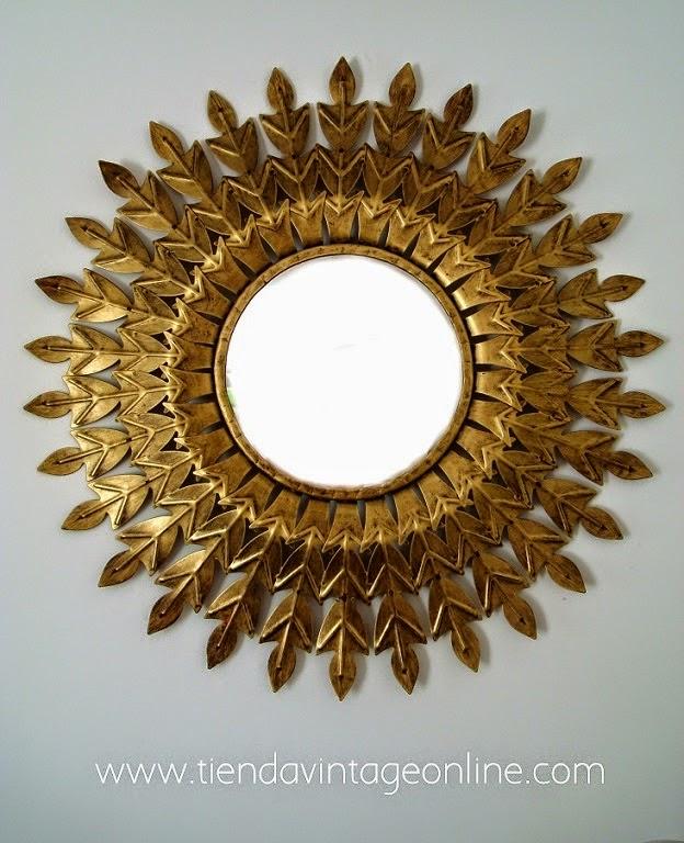 Espejo sol vintage dorado años 50