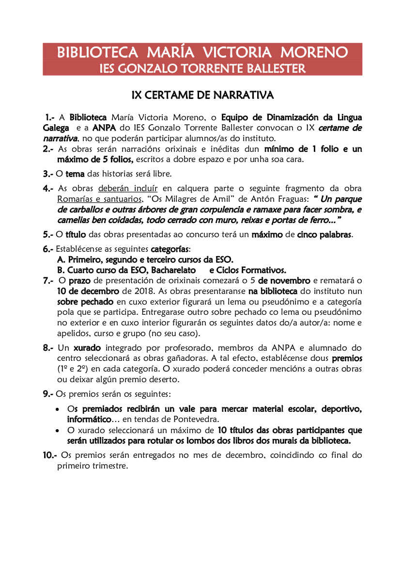 Bases IX Certame de Narrativa 2018-19