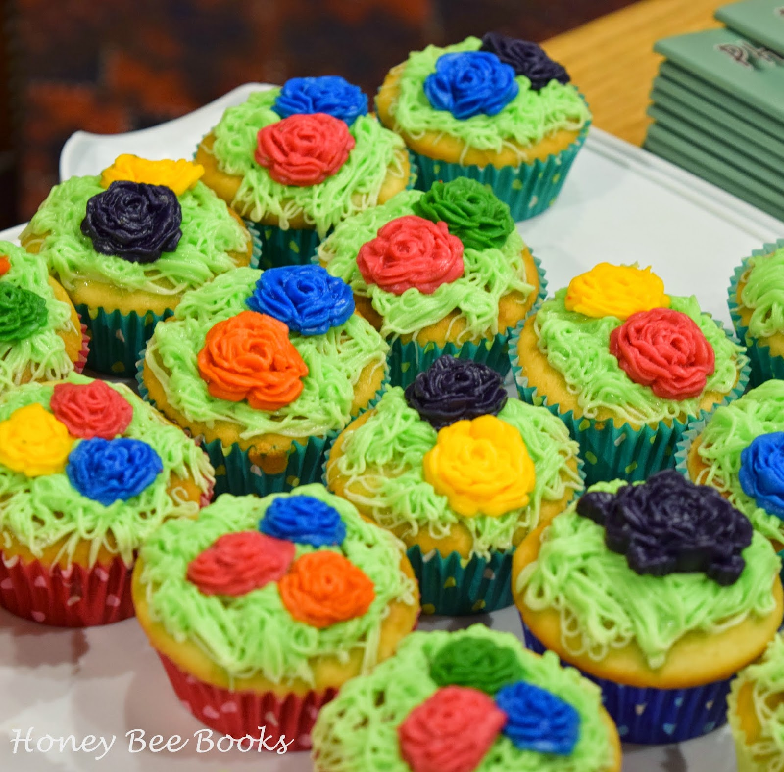 Flower cupcakes at the book launch of Clyde's Prickly Ride