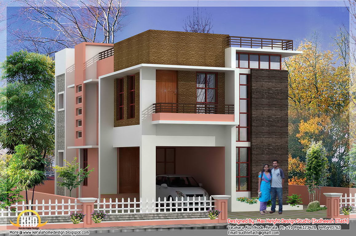 Modern home elevation with plan 1850 sq ft kerala for House elevation design
