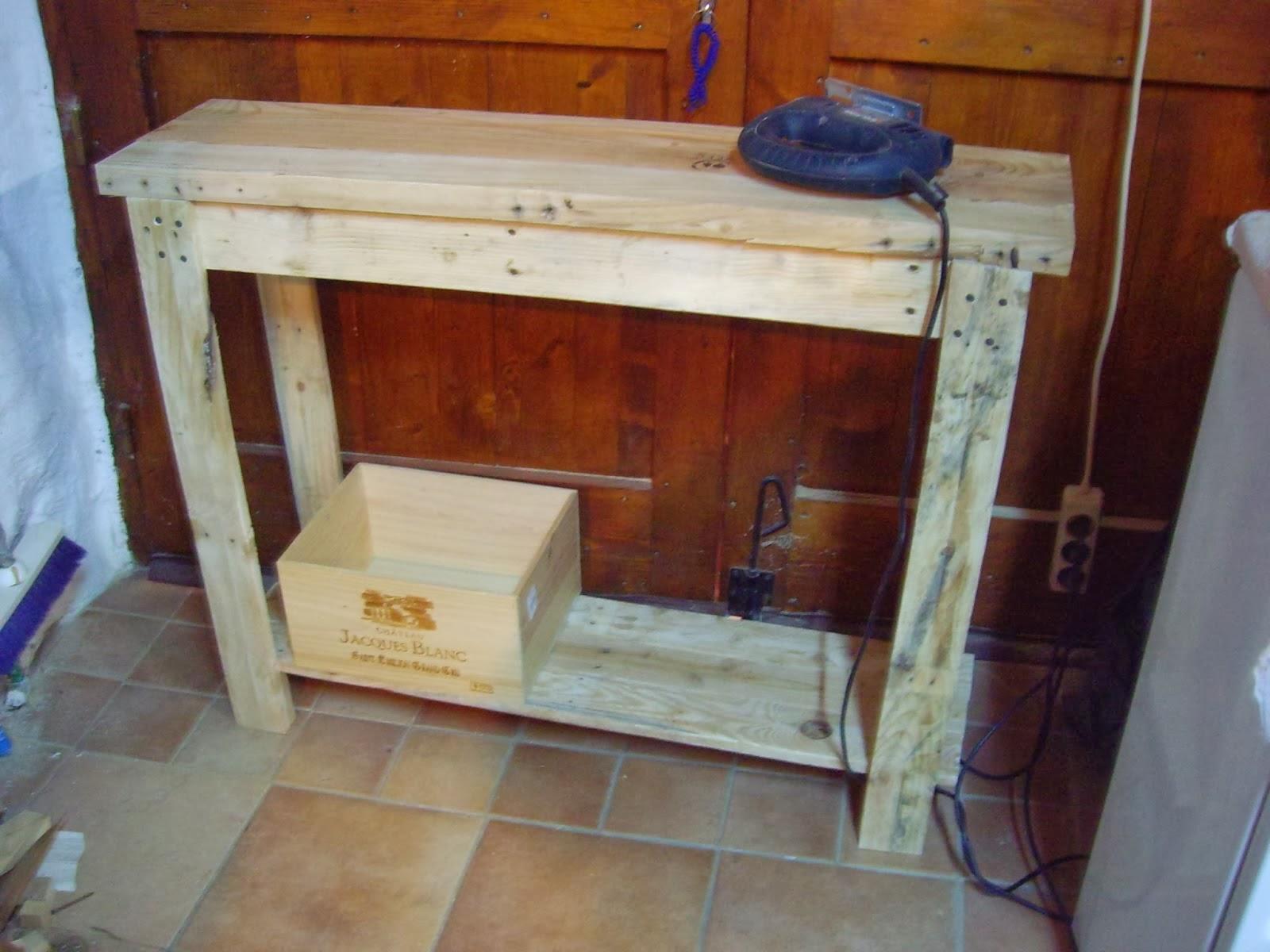 Objets d co tutoriels et meubles en bois de palettes console en bois de pa - Construction en palettes bois ...