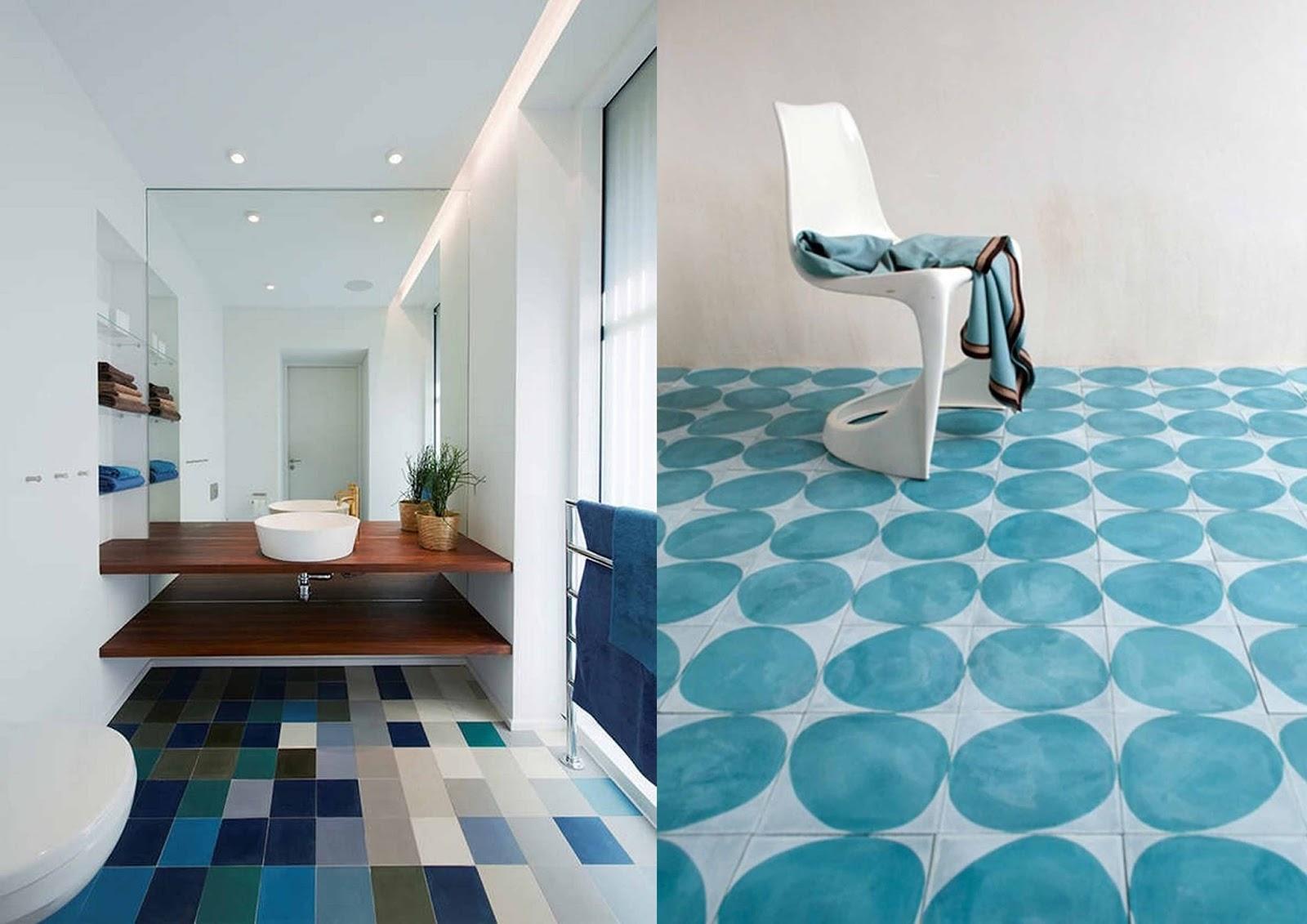 Blue and white bathroom tiles - Blue White Bathroom Tiles Gradient Tiles Subway Tiles White Chair Blue Pebbles