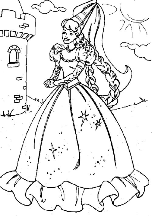 Printable Barbie Princess Coloring Pages title=