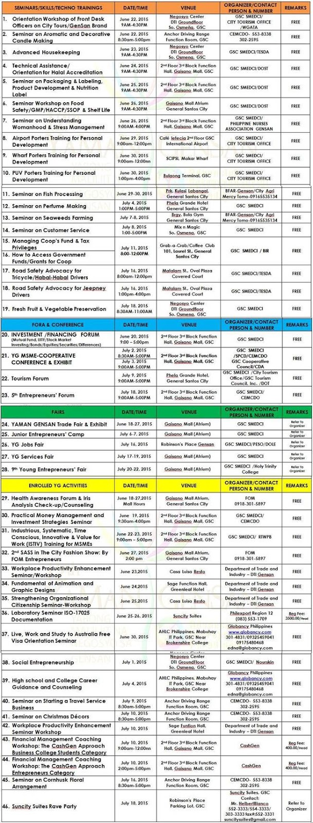 YAMAN GENSAN 2015 Schedule of Activities