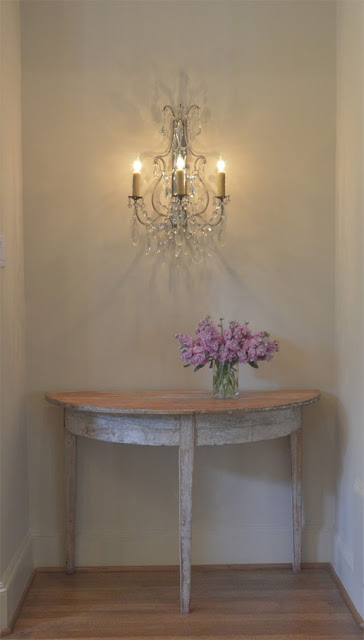 Hall table, crystal sconce, image and design by Luxe Living Interiors as seen on linenandlavender.net