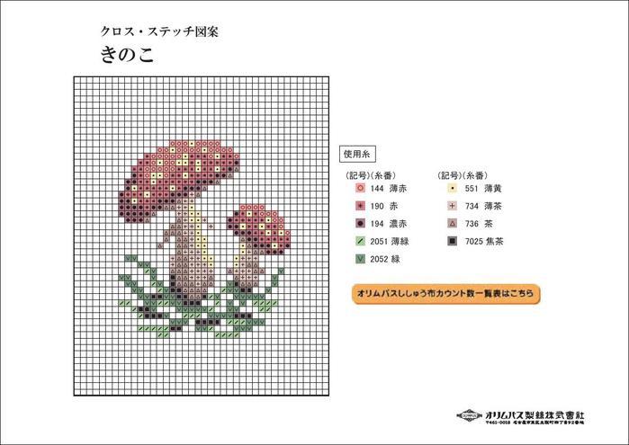 схема  вышивки крестом грибы