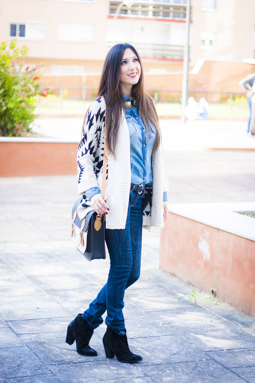 denim and aztec cardigan
