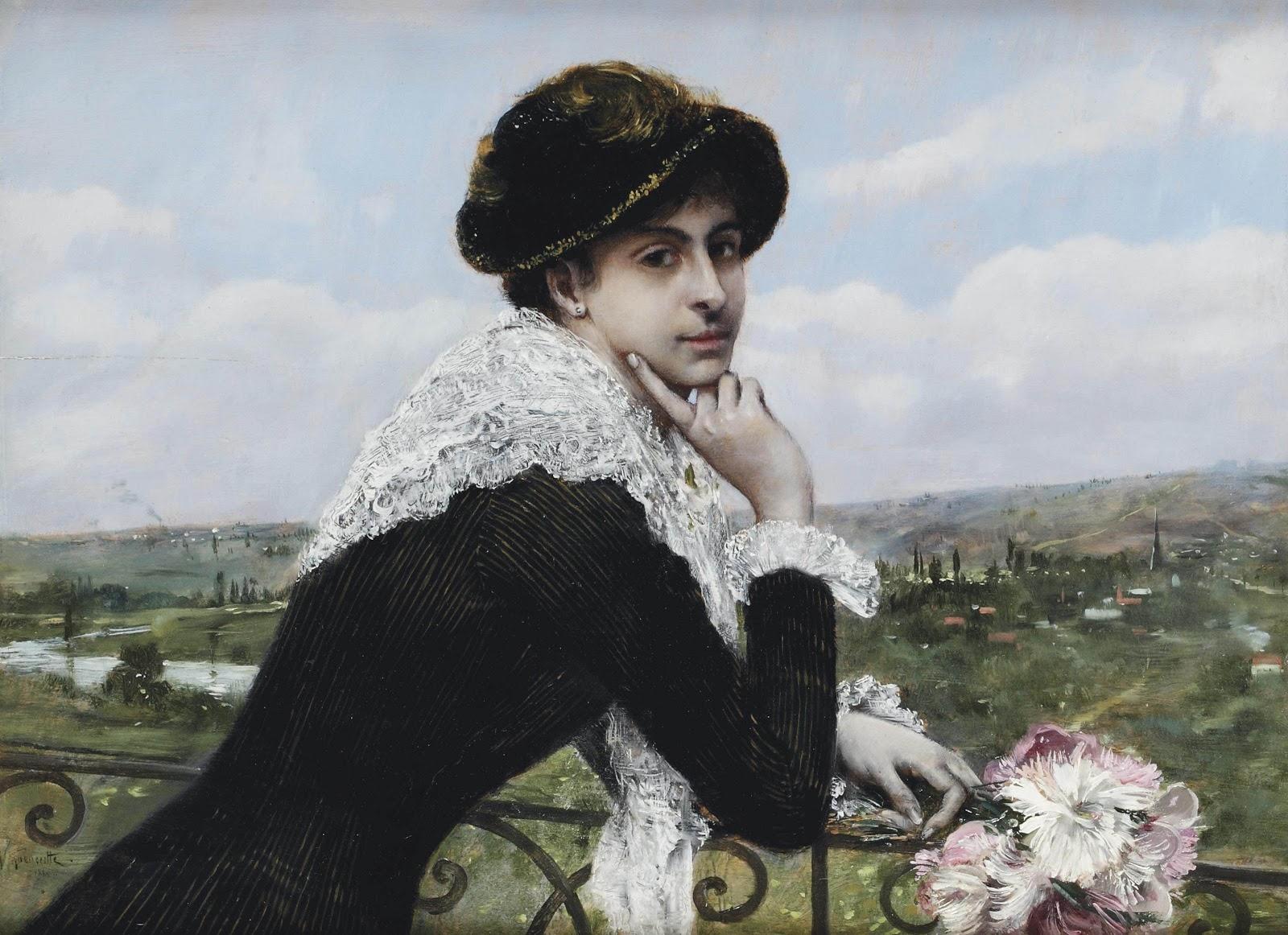 Norbert Goeneutte Femme au balcon Christies