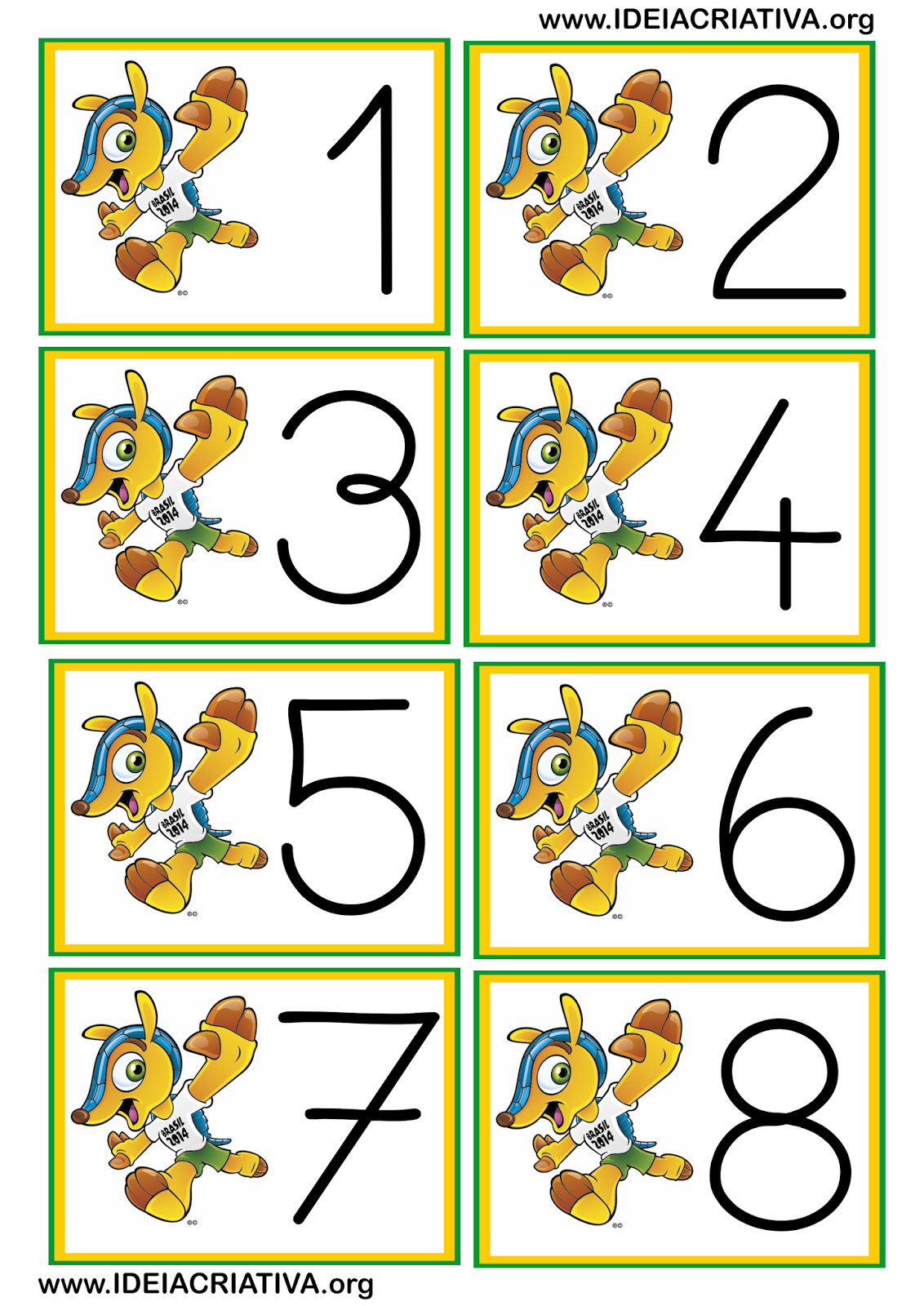 Flash Cards Fuleco Copa do Mundo Numerais