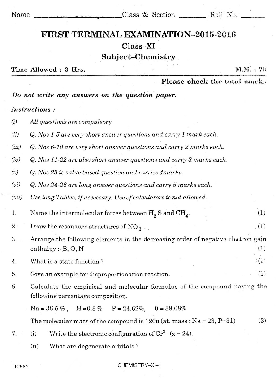 Science4all class xi chemistry birla vidya niketan school question class xi chemistry birla vidya niketan school question paper 2015 2016 malvernweather Image collections