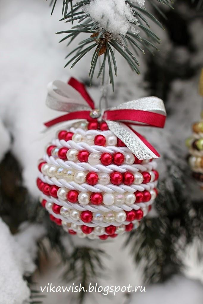 Новогодние шары из бусин своими руками