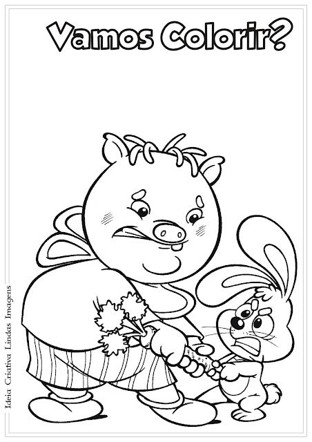 Sítio do Picapau Amarelo Rabicó Baby desenho para colorir