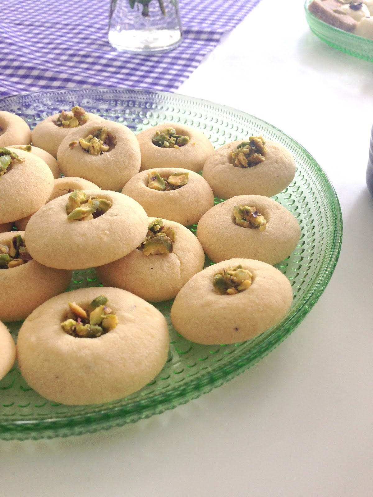 My biscuits are flavoured with cardamom and saffron and I topped them ...