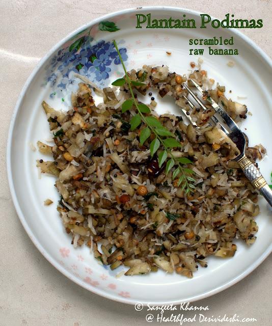 101 gluten free breakfasts : scrambled raw plantains south Indian style | plantain podimas recipe
