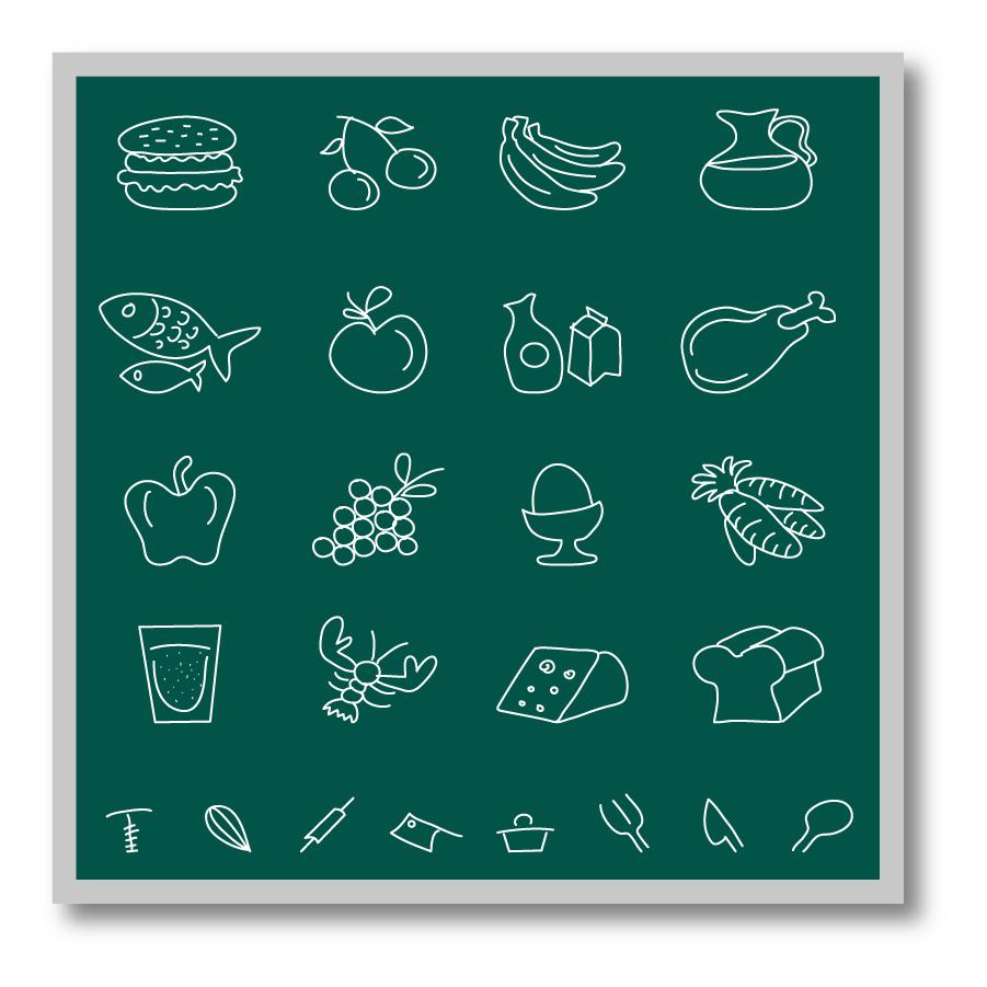 黒板にチョークで描いた食べ物アイコン Chalkboard food icons イラスト素材