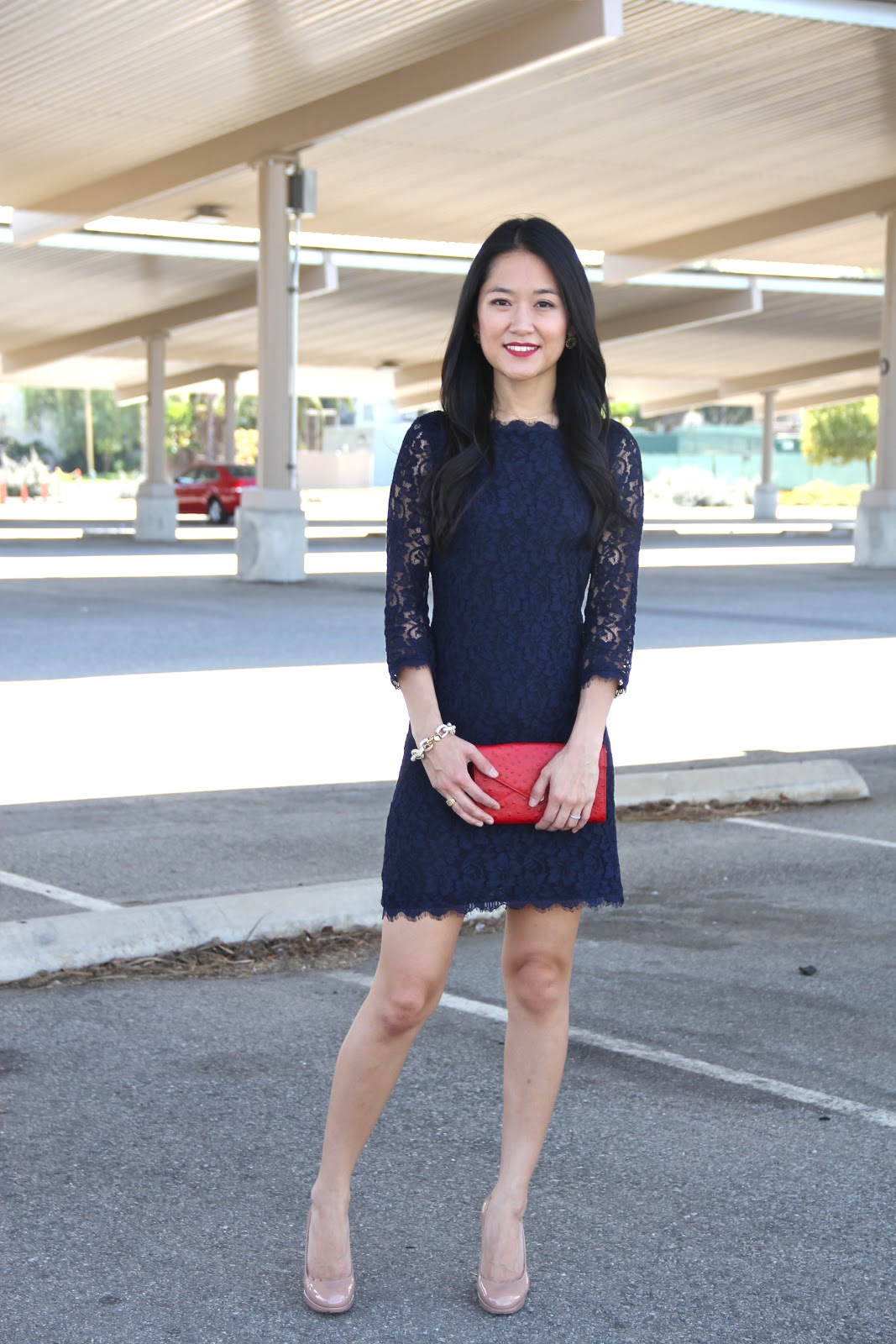 Life By Appointment: Navy Lace with Red