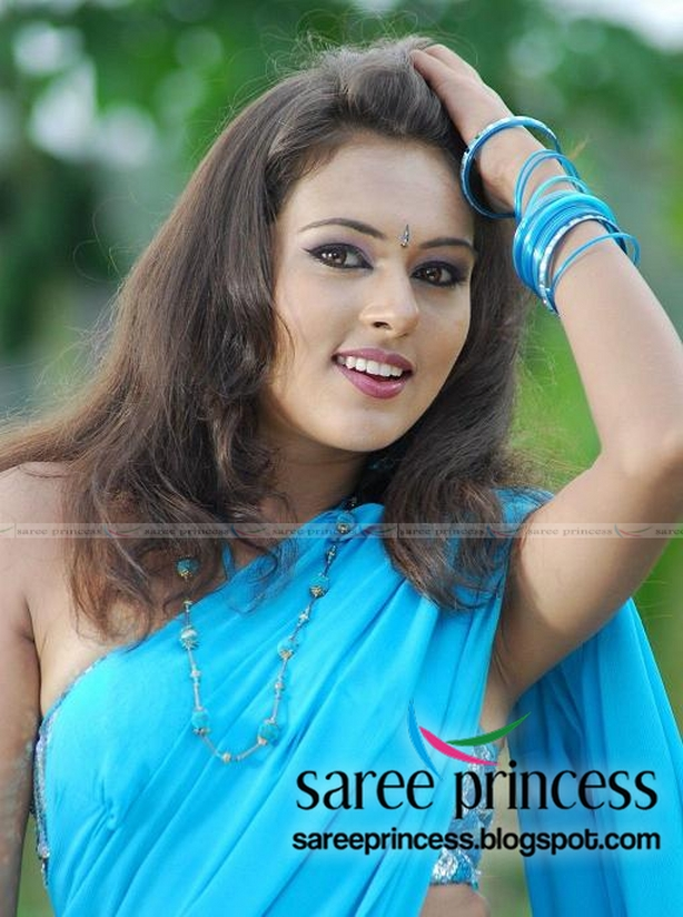 Sonu Chandra Paul Blue Saree From Tamil Movie Maavoori Maharshi