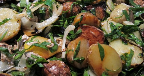 Lemony Roasted Potatoes with Fennel and Spinach