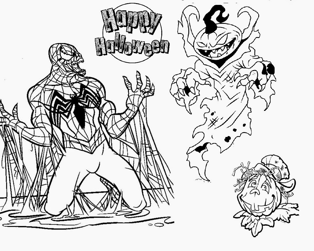 evil spiderman vs scary pumpkin halloween coloring pages - Free Halloween Printable Coloring Pages