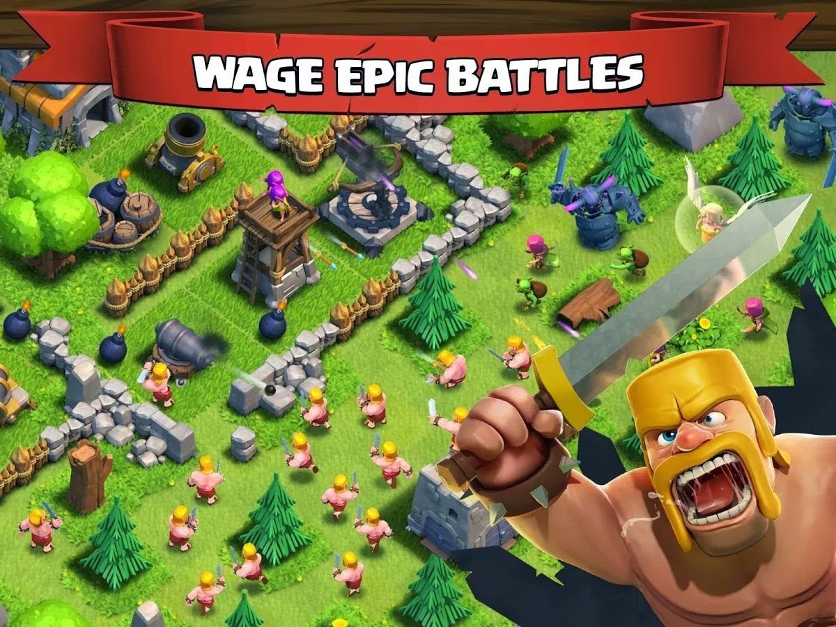 Clash of Clans v7.65.5 Mod Hack APK (Unlimited Gold Infinite Gems Dark Elixir) Offline Update Terbaru 2016