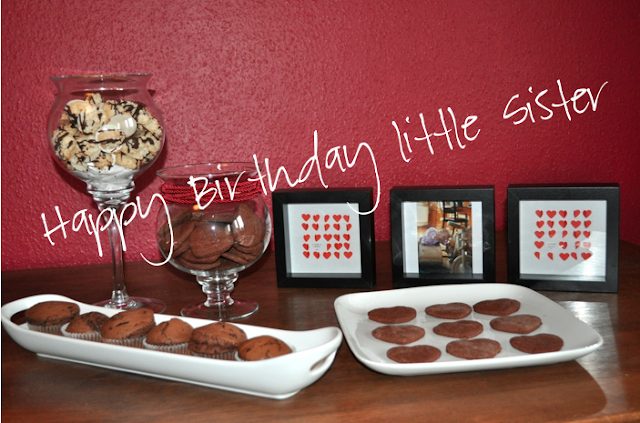 sweet table for my little sisters 18th birthday, cookies, muffins cake, photos