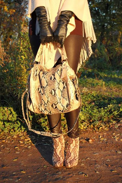 snake bag boots