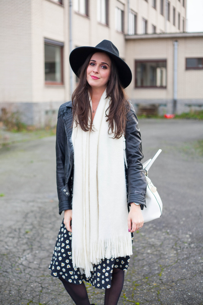 outfit: leather jacket, floral dress, wide brim hat