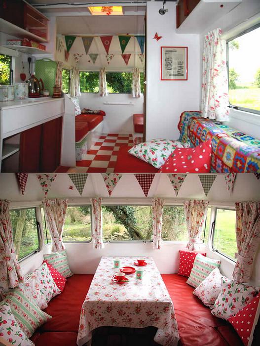 Cherry wood hippie chic bohemian style - Deco interieur caravane ...