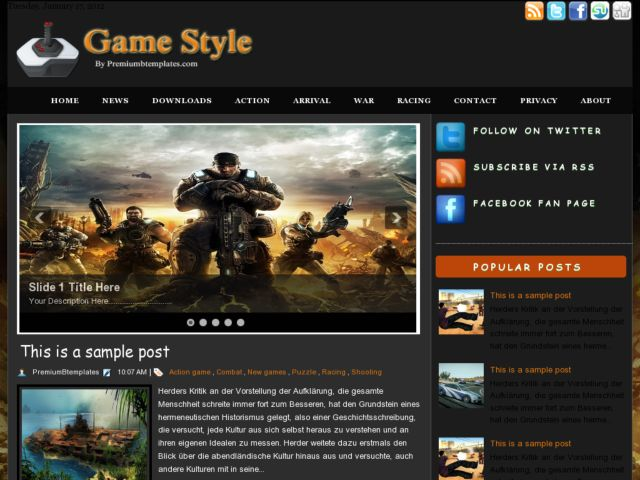 Game Style Blogger Template. 2 column blogspot template. download free blogger template