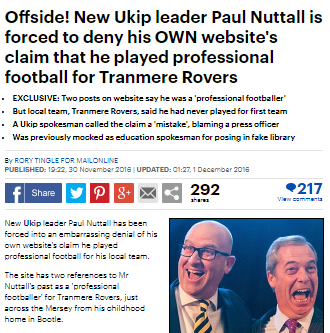 Paul Nuttall football