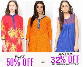 Women Kurtas & Suit Sets upto 64% off + 32% off from Rs. 198