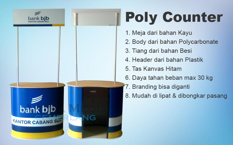 Meja Promosi Kayu PolyCarbonate (PolyCounter), meja promosi portable, meja promosi murah, meja promosi portable