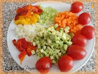 Tagliatelle peperoni, zucchine e carote
