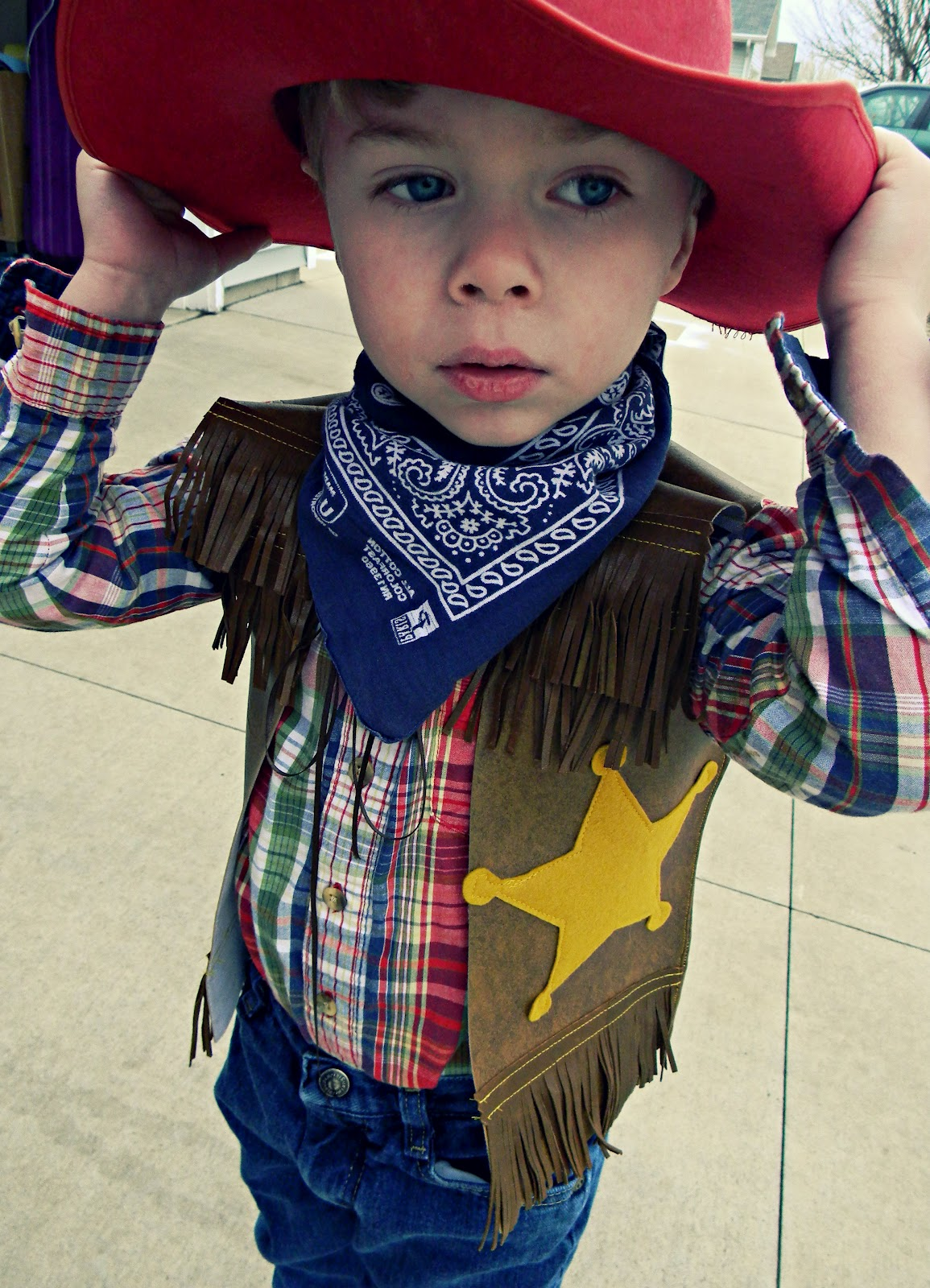 And there you have it a very easy way to create a cowboy for Homemade halloween costumes for little boys