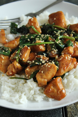 sesame chicken with spinach over rice, low-fructose, gluten-free