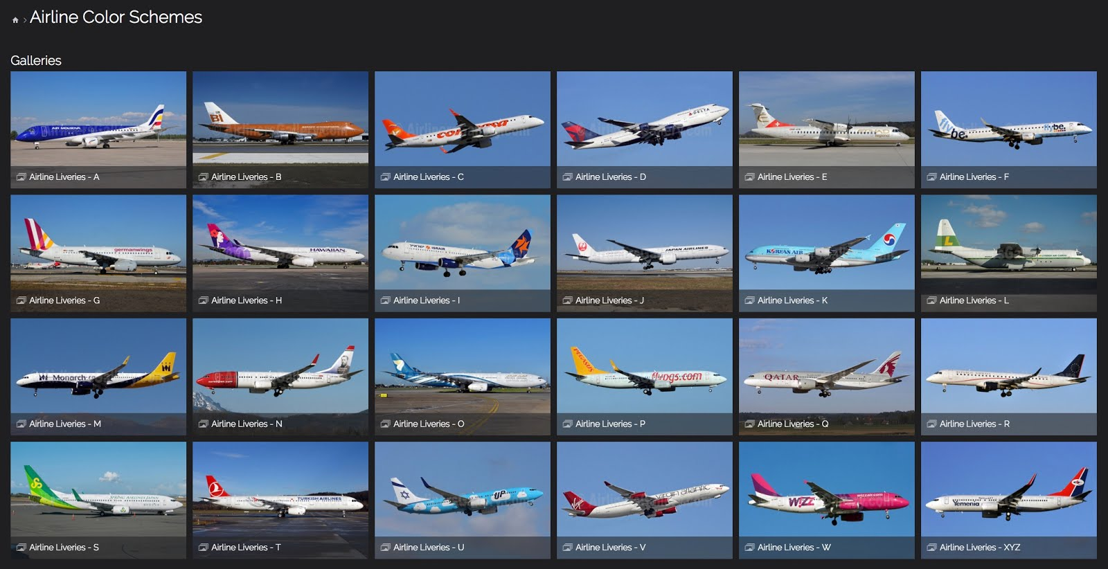 Airline Liveries - A - Z
