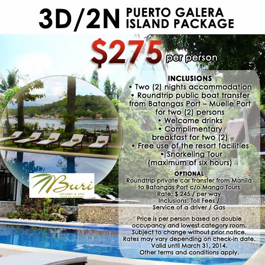 Puerto Galera Buri Resort & Spa Mango Tours package