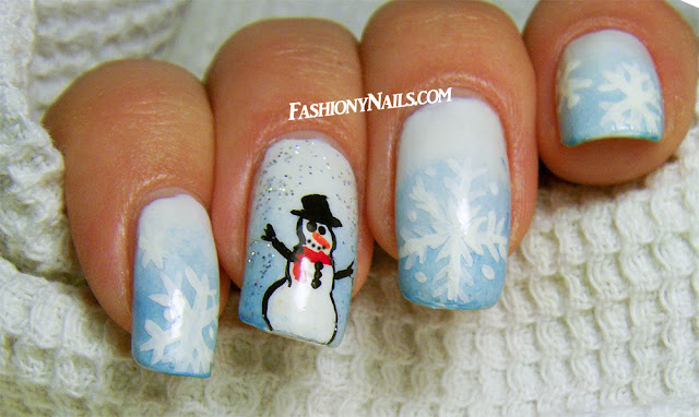 Winter Inspired Nail Design with Snowman