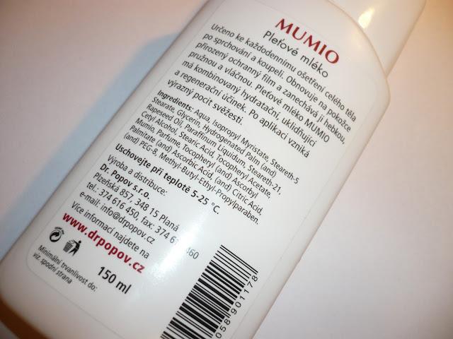 Mumio pleťové mléko - Dr. Popov složení