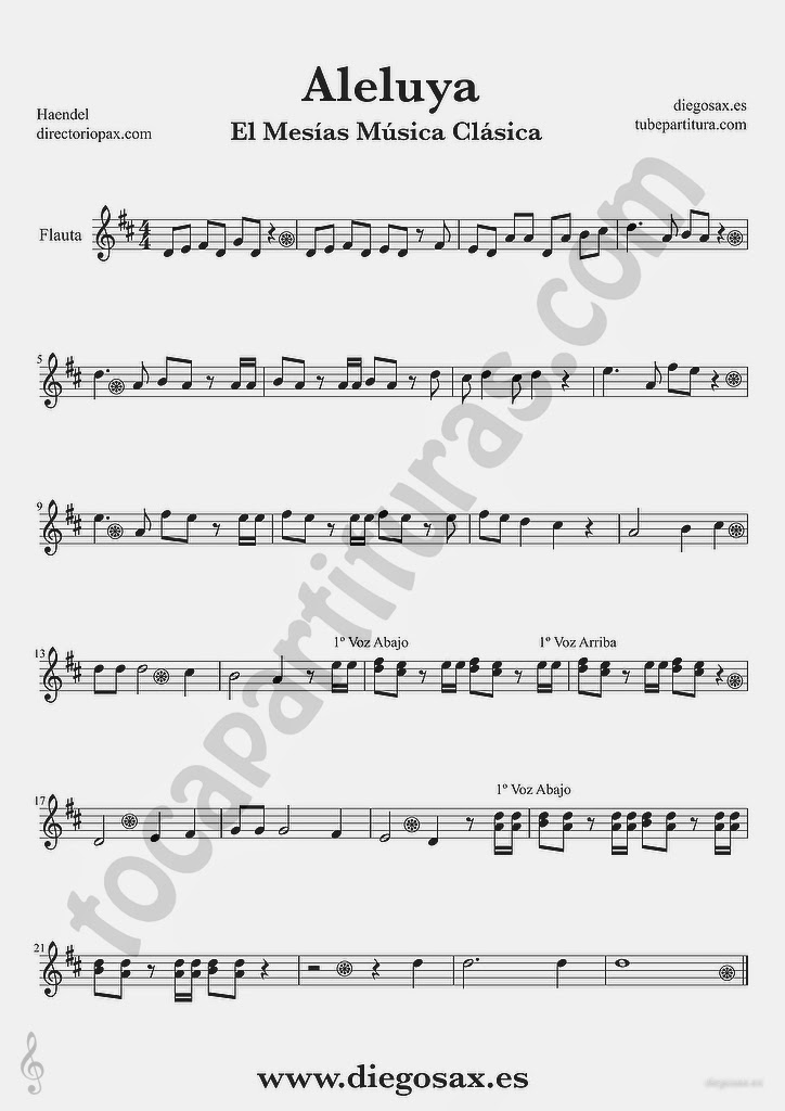 Tubescore Hallelujah by Handel Sheet Music for Flute