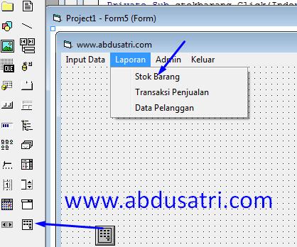 cara membuat menu utama dengan database accdb