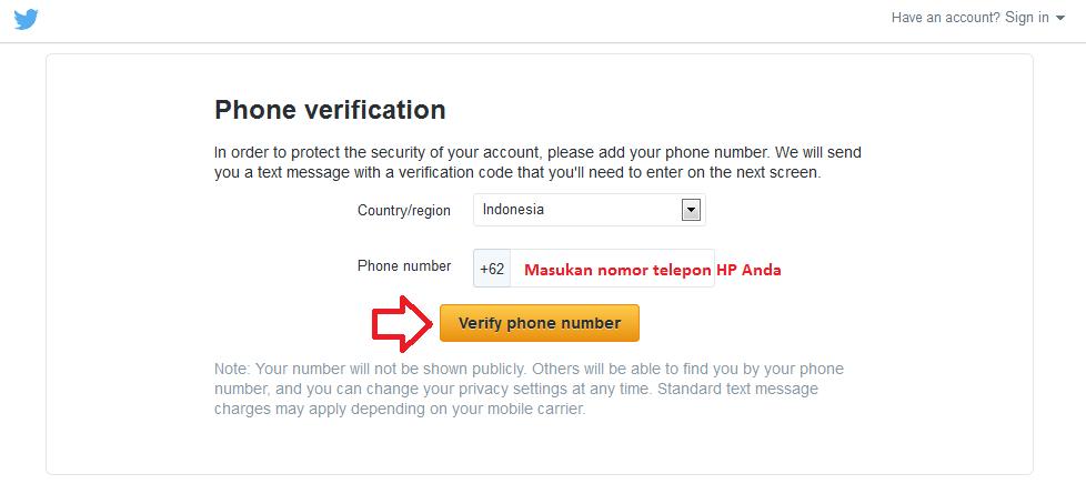 Phone verification saat membuat mendaftar akun Twitter
