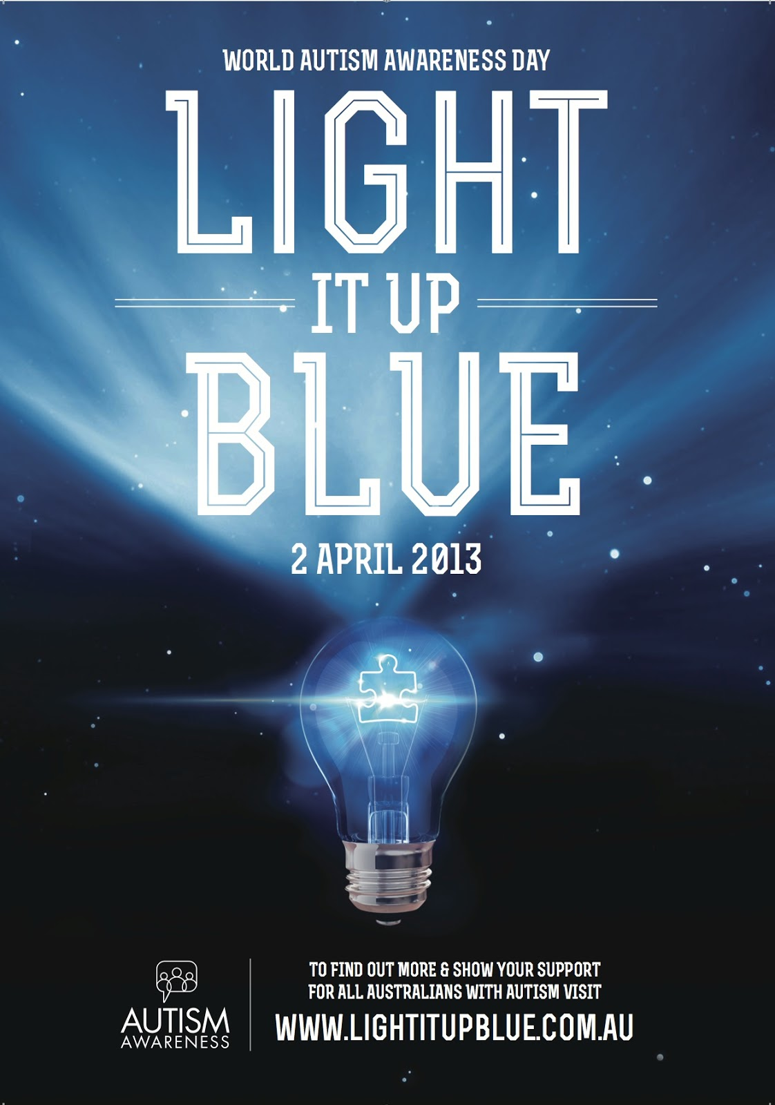 Light It Up Blue!  World Autism Day Is April 2nd. Buy A Blue Light Bulb For  Your Front Porch, Wear Blue To Work, And Have Your Kiddos Wear Blue To  School.