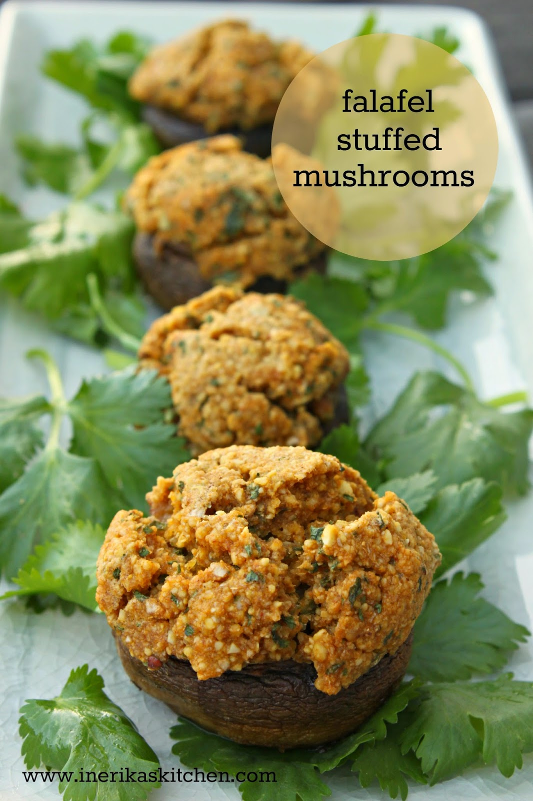 Falafel stuffed mushrooms from In Erika's Kitchen