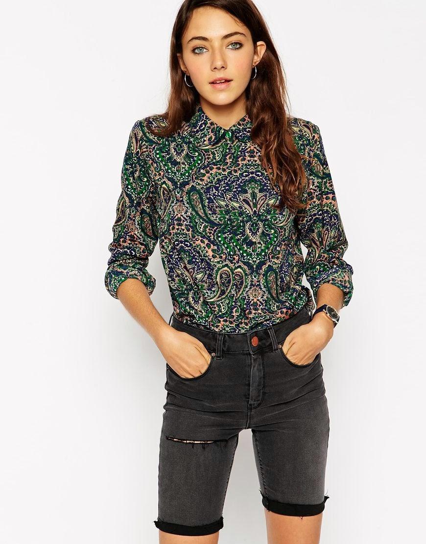 asos vintage blouse, asos green paisley shirt,