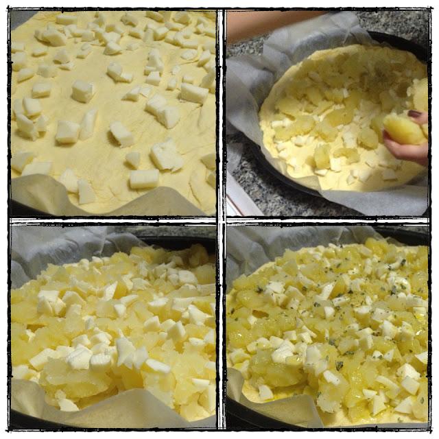 le fasi per la pizza di patate