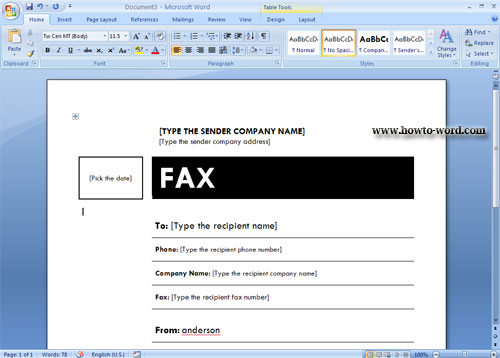 fax templates word 2007